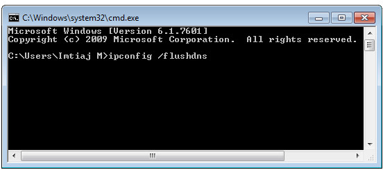 cmd ekranı, ipconfig /flushdns temizleme işlemi
