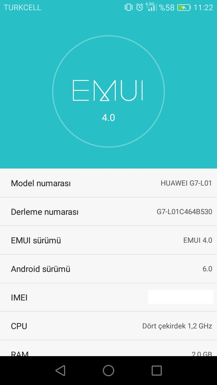 Huawei G7-L01 Emui 4.0 Android 6.0